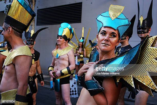 Parade goers assemble for the start of the annual Sydney Gay and Lesbian Mardi Gras Parade on Oxford Street on February 27 2010 in Sydney Australia...