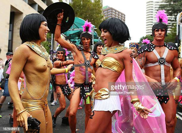 Parade goers dance prior to the start of the annual Sydney Gay and Lesbian Mardi Gras Parade on March 2 2013 in Sydney Australia Thousands of...