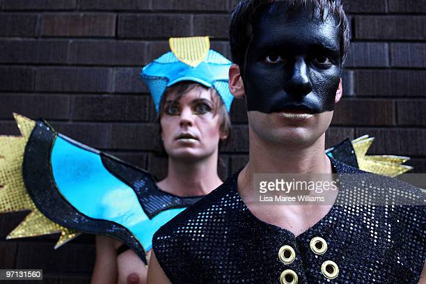Parade goers pose prior to the start of the annual Sydney Gay and Lesbian Mardi Gras Parade on Oxford Street on February 27 2010 in Sydney Australia...