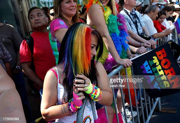 Parade goers show off their rainbow colors during 43rd annual San Francisco Lesbian Gay Bisexual Transgender Pride Celebration Parade June 30 in San...
