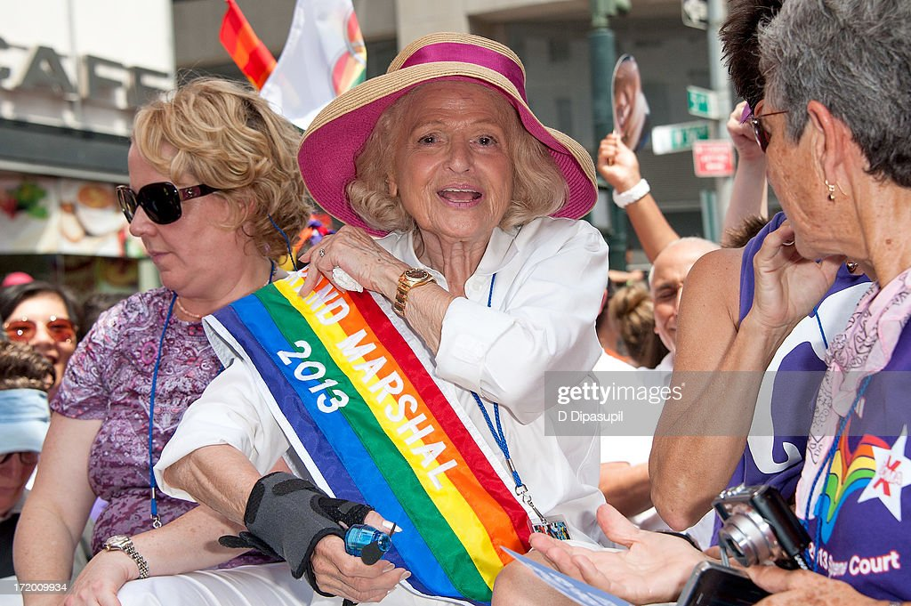Parade grand marshal Edie Windsor attends The March during NYC Pride 2013 on June 30, 2013 in New York City.