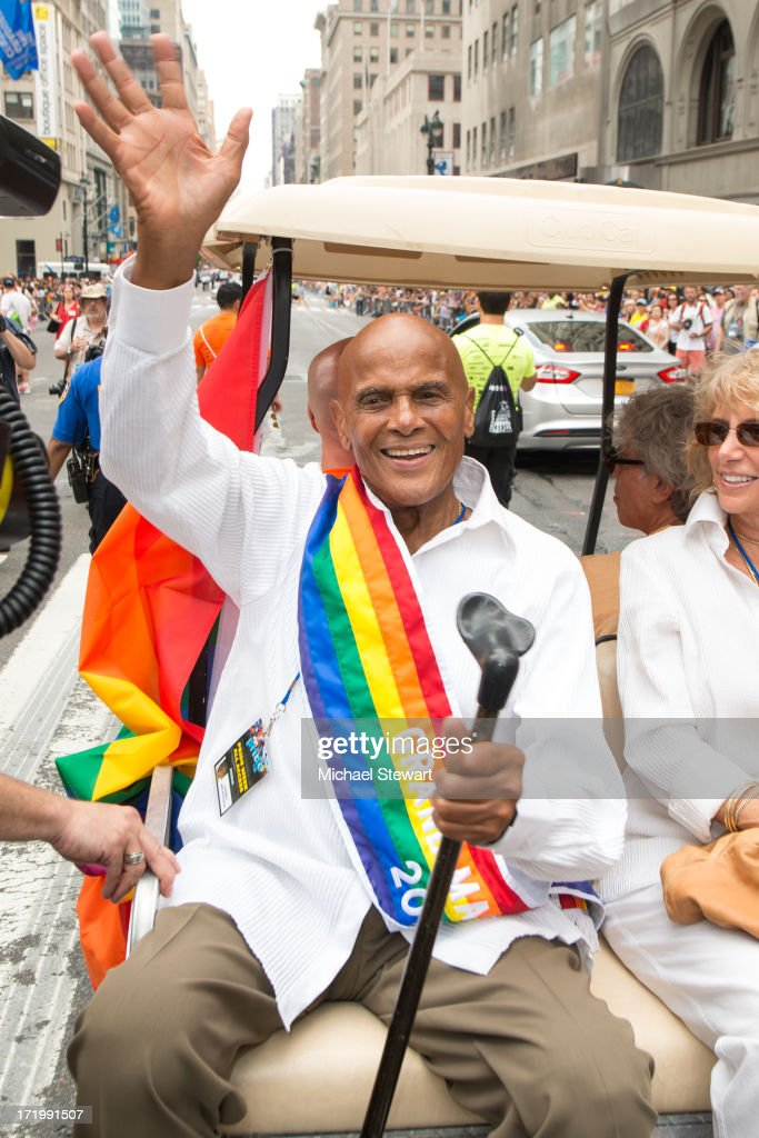 Parade grand marshal <a gi-track='captionPersonalityLinkClicked' href=/galleries/search?phrase=Harry+Belafonte&family=editorial&specificpeople=204214 ng-click='$event.stopPropagation()'>Harry Belafonte</a> attends The March during NYC Pride 2013 on June 30, 2013 in New York City.