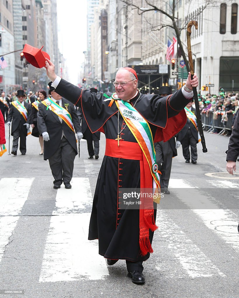 Parade Grand Marshal Timothy Cardinal Dolan Archbishop of the Archdiocese of New York participates in the 254th Annual St Patrick's Day Parade on 5th...