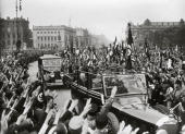 Parade in occasion of the first of may 1933 In the first car Reichskanzler Paul von Hindenburg next to Adolf Hitler Photography 1st of may 1933 [1...