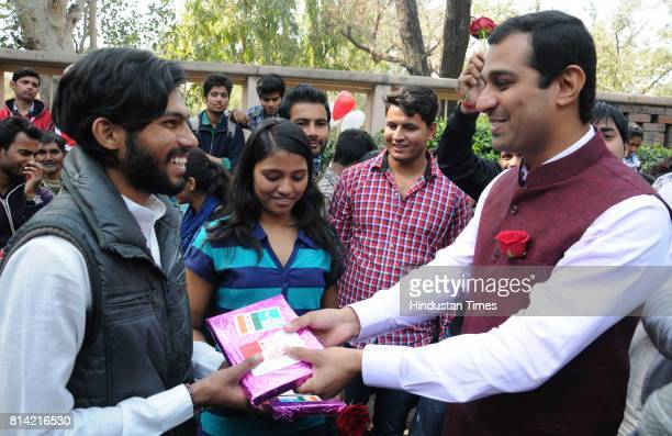 Parade Love 2015 celebrating the Spirit of Love Organised by NSUI at Arts Faculty Delhi University on February 13 2015 in New Delhi India