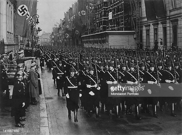 Parade of the SS Leibstandarte the most important division of the WaffenSS between Berlin's streets in the presence of the Chancellor of the Third...