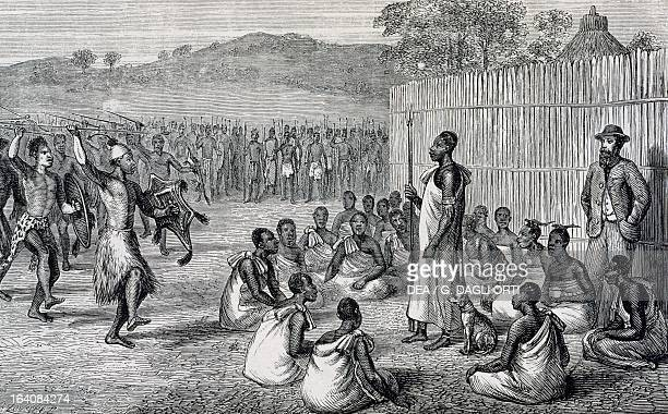 Parade of Ugandan troops engraving from the Journal of the discovery of the sources of the Nile by John Hanning Speke 1863 Africa 19th century