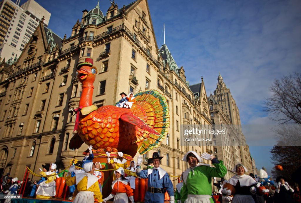 Parade participants guide a turkey float at the annual Macy's Thanksgiving Day Parade on November 27 2008 in New York City