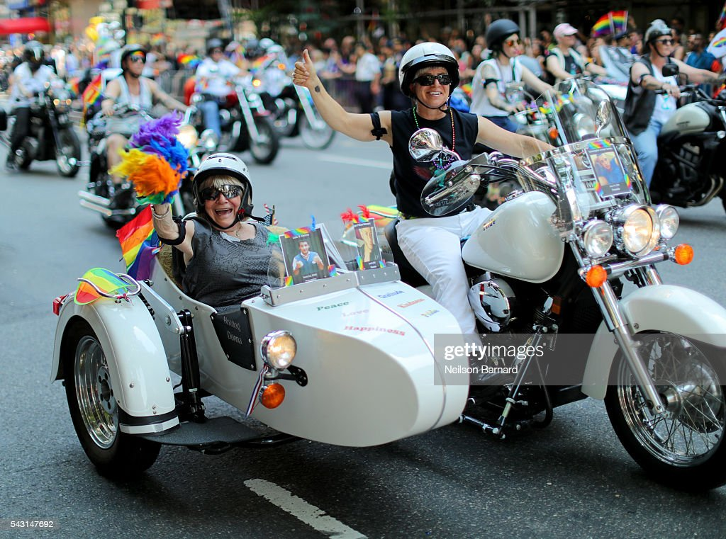 Parade participants on motocycles during the New York City Pride 2016 march at 5th Avenue on June 26, 2016 in New York City.