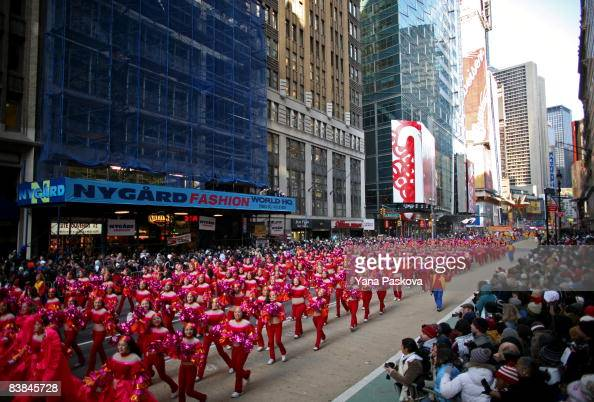 Parade participants pass by at the annual Macy's Thanksgiving Day Parade on November 27 2008 in New York City