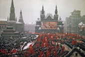 A parade taking place in Red Square Moscow former Soviet Union circa 1975