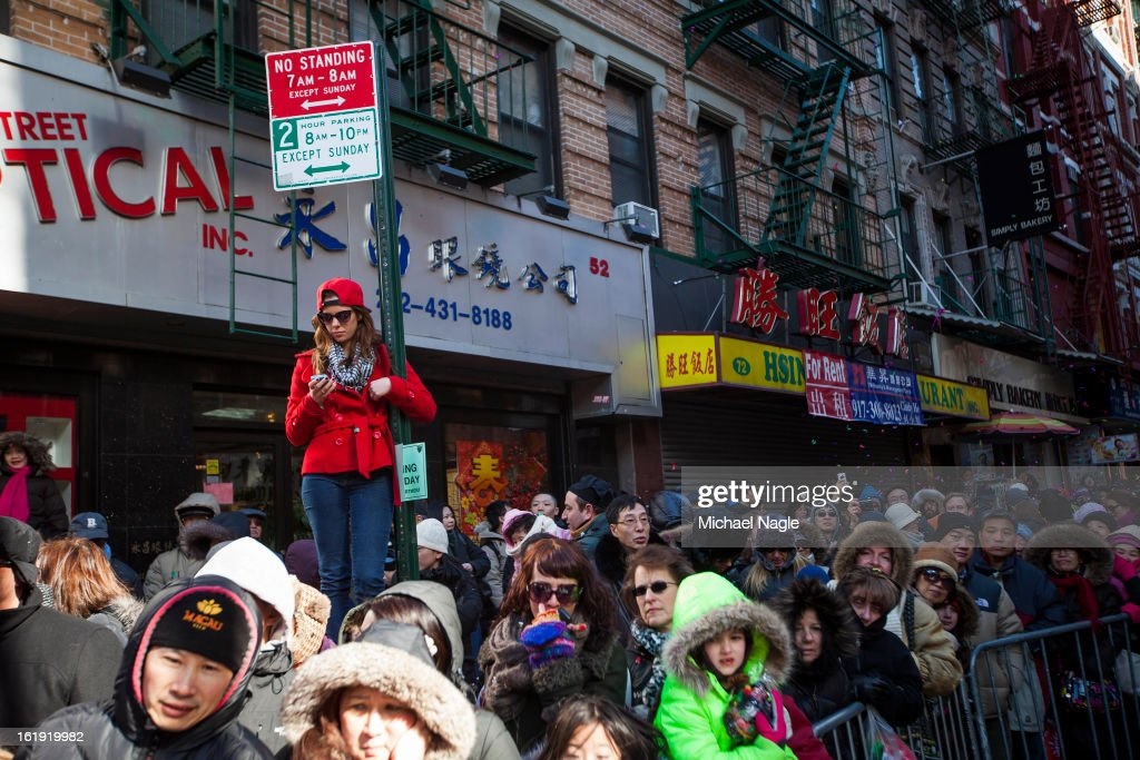 Parade-goers lined the streets of New York's Chinatown during the 14th Annual Chinatown Lunar New year Parade on February 17, 2013 in New York City. This year celebrates the Year of the Snake.