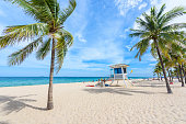 Paradise beach at Fort Lauderdale in Florida on a beautiful sumer day. Tropical beach with palms at white beach. Travel destination for vacation in USA.