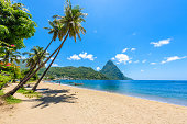 Paradise beach at Soufriere Bay with view to Piton at small town Soufriere in Saint Lucia, Tropical Caribbean Island. Travel destination for vacation.