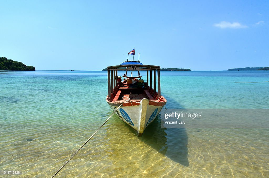 Paradisiac boat at Koh Ta Kiev island Cambodia : Stock Photo