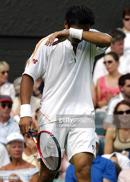 Paradorn Srichaphan is defeated by Marat Safin 62 64 64 in the first round of the 2005 Wimbledon Championships on June 20 2005