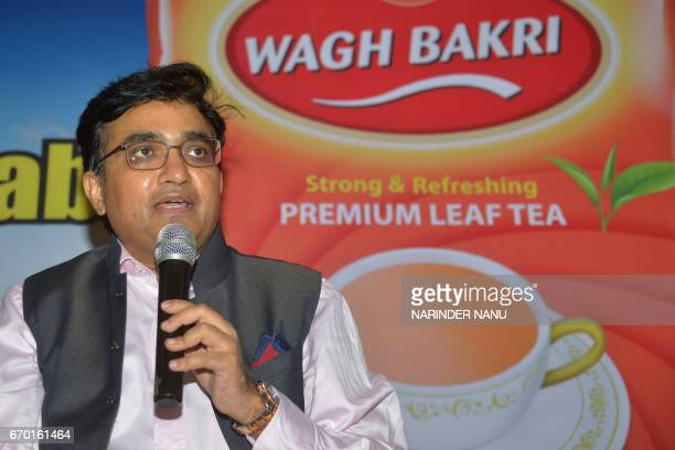 Parag Desai executor director of Wagh Bakri Tea Group addresses the media at the company's launch announcement for Punjab in Amritsar on April 19...