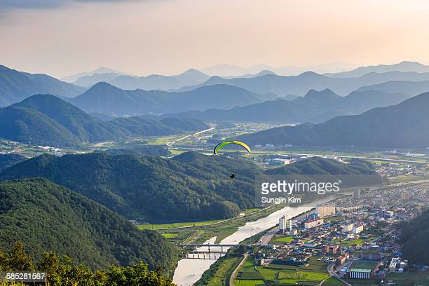 A paraglider flying over Pyeongchang