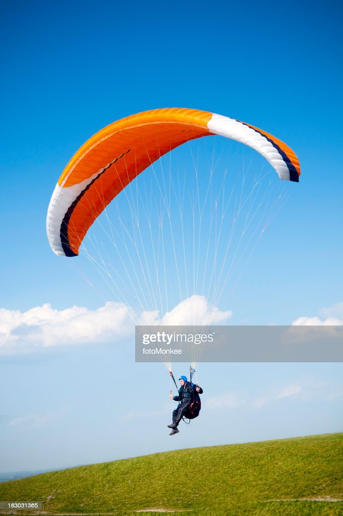 Paraglider and blue sky