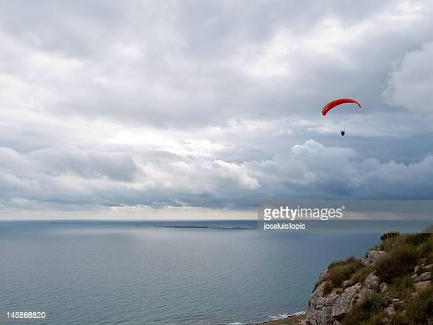 Paragliding over sea