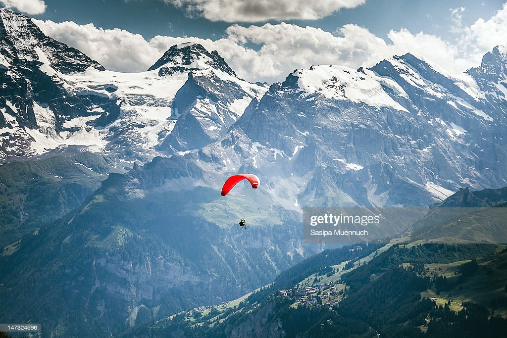 Paragliding over Swiss Alps