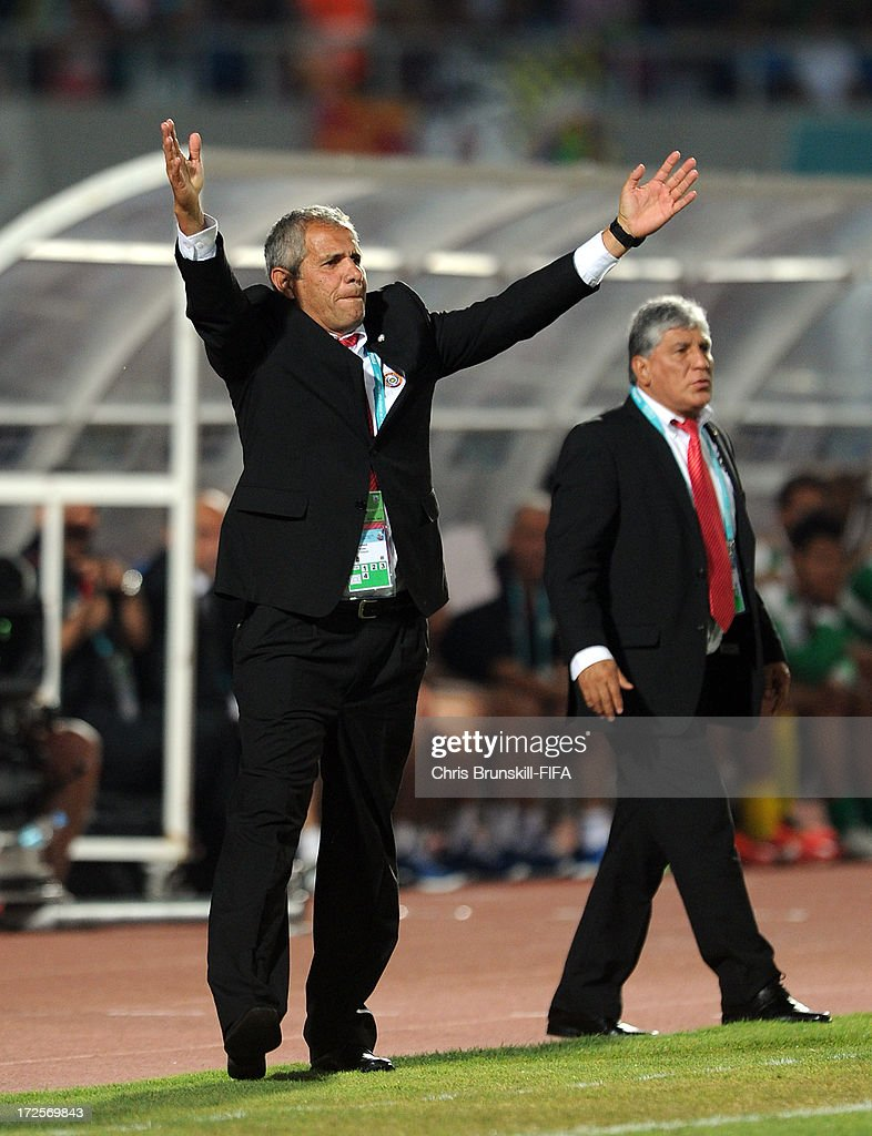 Paraguay coach Victor Genes gestures from the touchline during the FIFA U20 World Cup Round of 16 match between Iraq and Paraguay at Akdeniz University Stadium on July 03, 2013 in Antalya, Turkey.