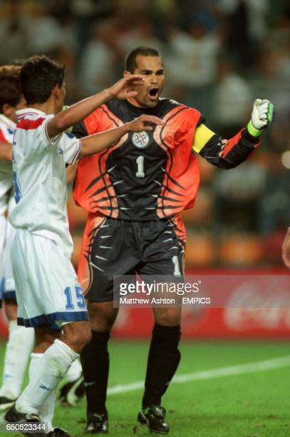 Paraguay goalkeeper Jose Luis Chilavert celebrates after the 00 draw with Spain