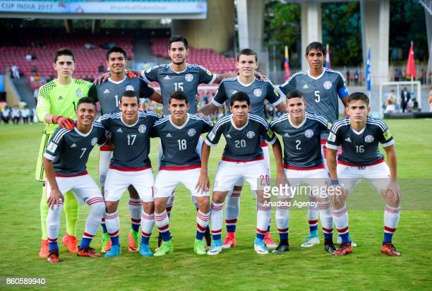 Paraguay U17 team's footballers pose for a photo before the 2017 FIFA U17 World Cup football match between Turkey U17 and Paraguay U17 in Mumbai...