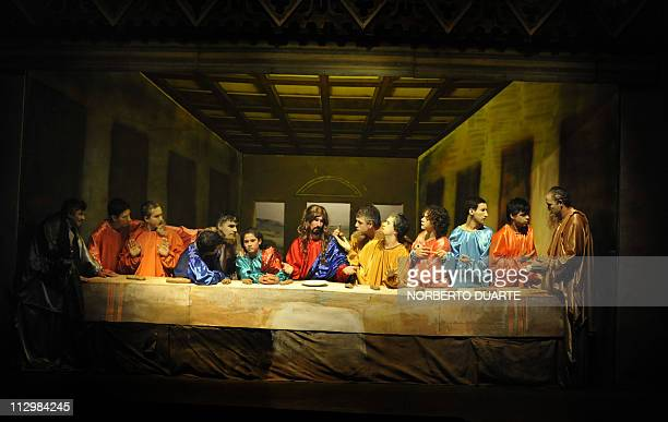 Paraguayan artists make a tableau vivant inspired in the painting by Italian Renaissance master Leonardo Da Vinci 'The Last Supper' in Misiones some...