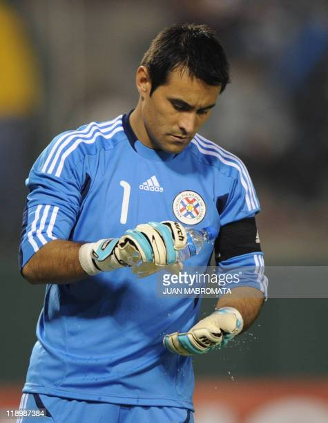 Paraguayan goalkeeper Justo Villar wets his gloves during a 2011 Copa America Group B first round football match at the Padre Ernesto Martearena...