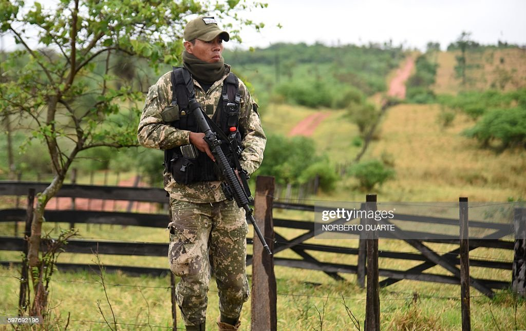 Paraguayan Joint Task Force troops with an armoured personnel carrier patrol the Arroyito sector department of Concepcion Paraguay on August 29 2016...