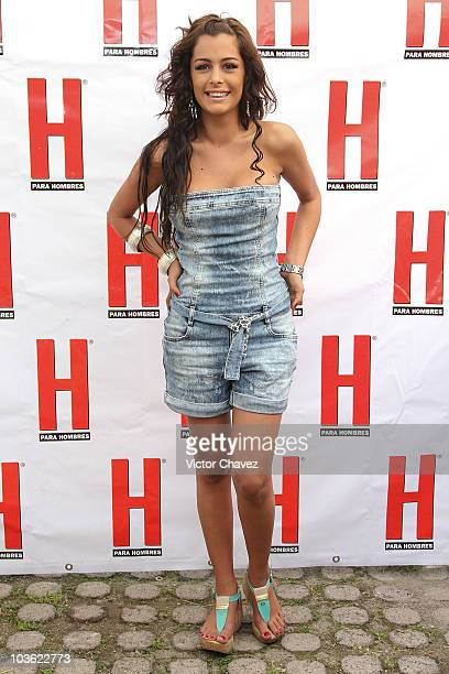 Paraguayan model Larissa Riquelme poses before she signs copies of her cover of 'H para hombres' magazine at Plaza Cuicuilco on August 24 2010 in...