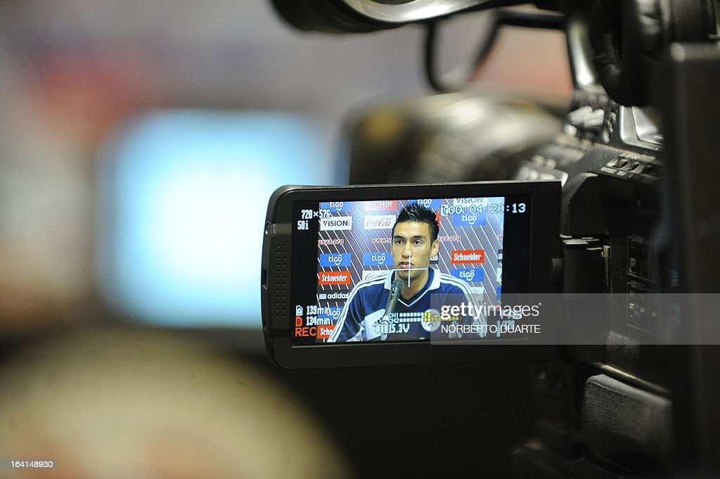 Paraguayan national team footballer Marcelo Estigarribia speaks during a press conference in Ypane, near Asuncion, on March 20, 2013. Paraguay will face Uruguay on march 22 in Montevideo in a Brazil 2014 FIFA World Cup South American qualifier.