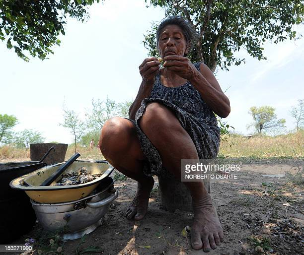 A Paraguayan native from the Comunidad Esperanza in Chaco 240 km north of Asuncion eats fishes from a lake nearby while waiting for supplies from the...
