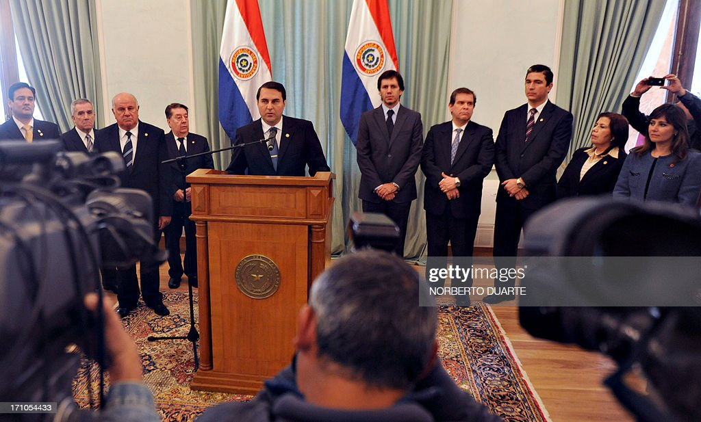 Paraguayan President Federico Franco speaks during the presentation of the report of his first year in office in Asuncion on June 21 2013 AFP PHOTO...