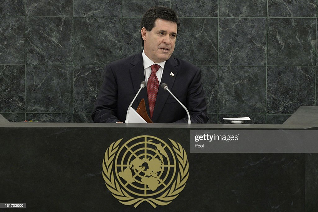 Paraguayan President Horacio Manuel Cartes Jara addresses the U.N. General Assembly on September 24, 2013 in New York City. Over 120 prime ministers, presidents and monarchs are gathering this week for the annual meeting at the temporary General Assembly Hall at the U.N. headquarters while the General Assembly Building is closed for renovations.