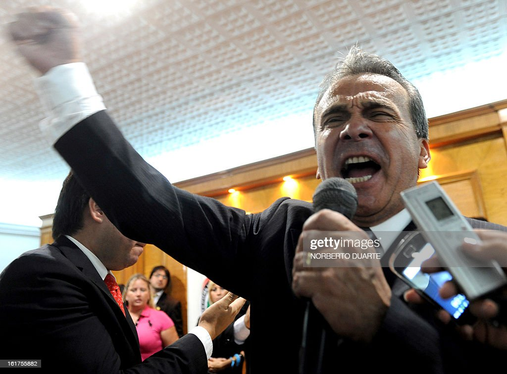 Paraguayan presidential candidate for the (UNACE) party, Lino Cesar Oviedo delivers a speech during the registration of his candidacy on February 15, 2013 in Asuncion. Paraguay will hold its presidential elections next April 21