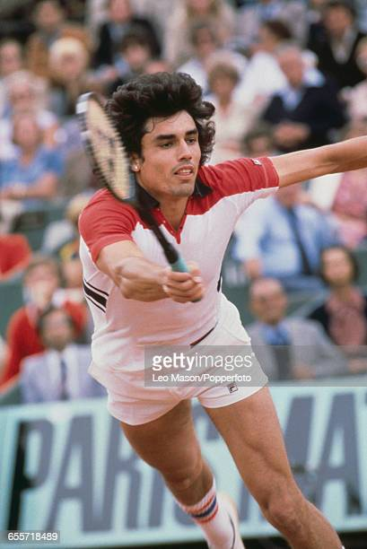 Paraguayan tennis player Victor Pecci pictured in action competing to reach the fourth round of the Men's Singles tournament at the 1978 French Open...