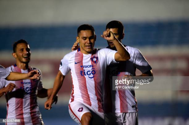 Paraguay's Cerro Porteno player Jorge Luis Rojas celebrates after scoring a goal against Uruguay's Boston River during their Sudamericana Cup...