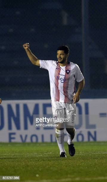 Paraguay's Cerro Porteno player Jose Ortigoza celebrates after scoring the second goal against Uruguay's Boston River during their Sudamericana Cup...