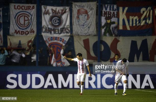 Paraguay's Cerro Porteno player Oscar Ruiz celebrates after scoring the third goal against Uruguay's Boston River during their Sudamericana Cup...