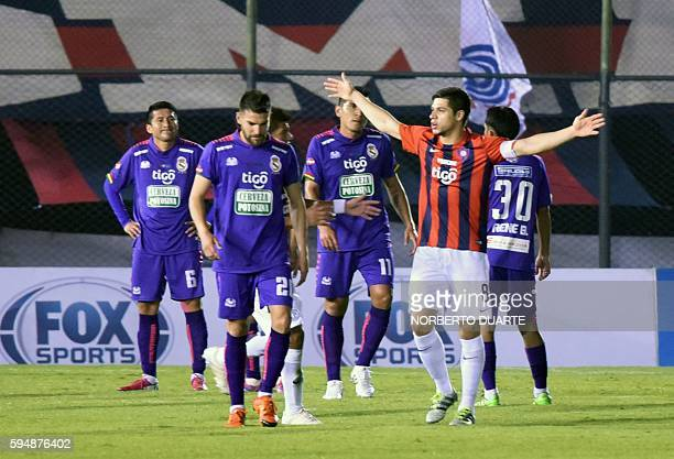 Paraguay's Cerro Porteno player Rodrigo Rojas celebrates after scoring against Bolivia's Real Potosi during their Sudamericana Cup football match at...