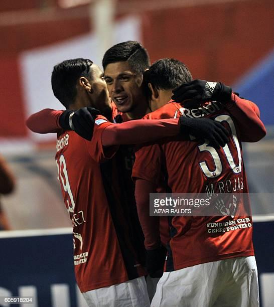Paraguay's Cerro Porteño player Rodrigo Rojas celebrates with teammates after scoring against Bolivia's Real Potosi during their Copa Sudamericana...