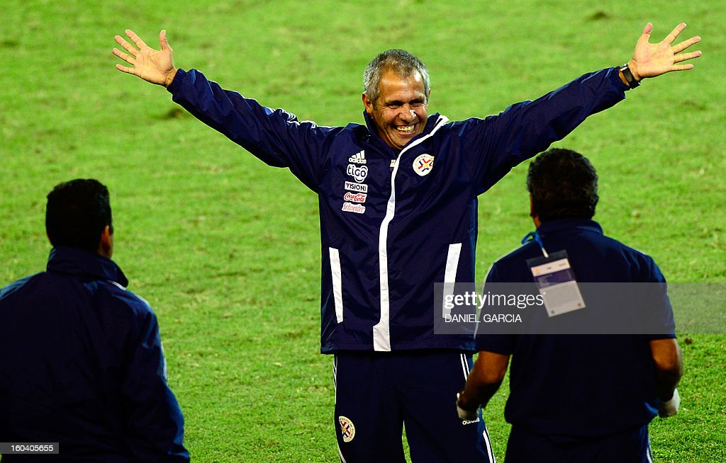 Paraguay's coach Victor Genes celebrates with his assistants at the end of their South American U-20 final round football match against Uruguay at Malvinas Argentinas stadium in Mendoza, Argentina, on January 30, 2013. Four teams will qualify for the FIFA U-20 World Cup Turkey 2013.