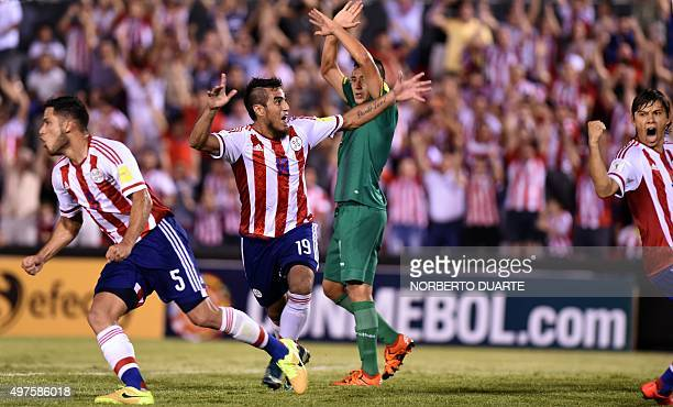 Paraguay's Dario Lezcano celebrates after scoring against Bolivia during their Russia 2018 FIFA World Cup South American Qualifiers football match in...