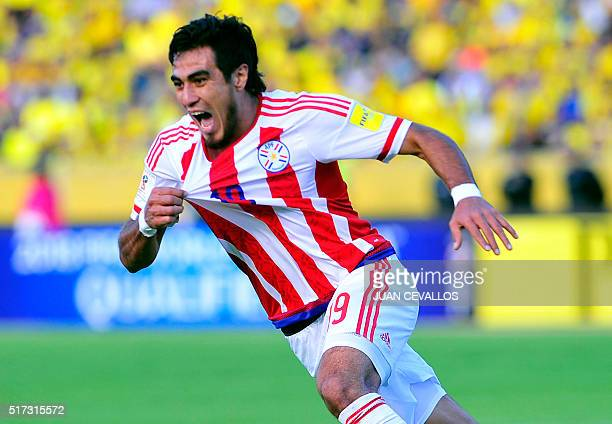 Paraguay's Dario Lezcano celebrates after scoring against Ecuador during their Russia 2018 FIFA World Cup South American Qualifiers' football match...