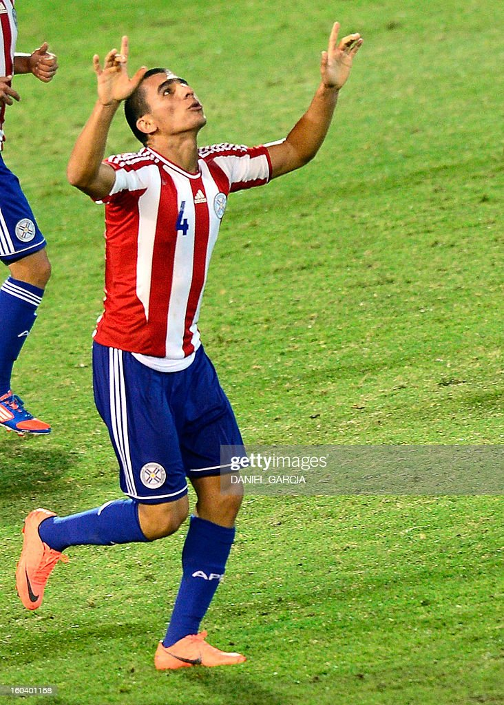 Paraguay's defender Junior Alonso celebrates after he scored against Uruguay during their South American U-20 final round football match at Malvinas Argentinas stadium in Mendoza, Argentina, on January 30, 2013. Four teams will qualify for the FIFA U-20 World Cup Turkey 2013.