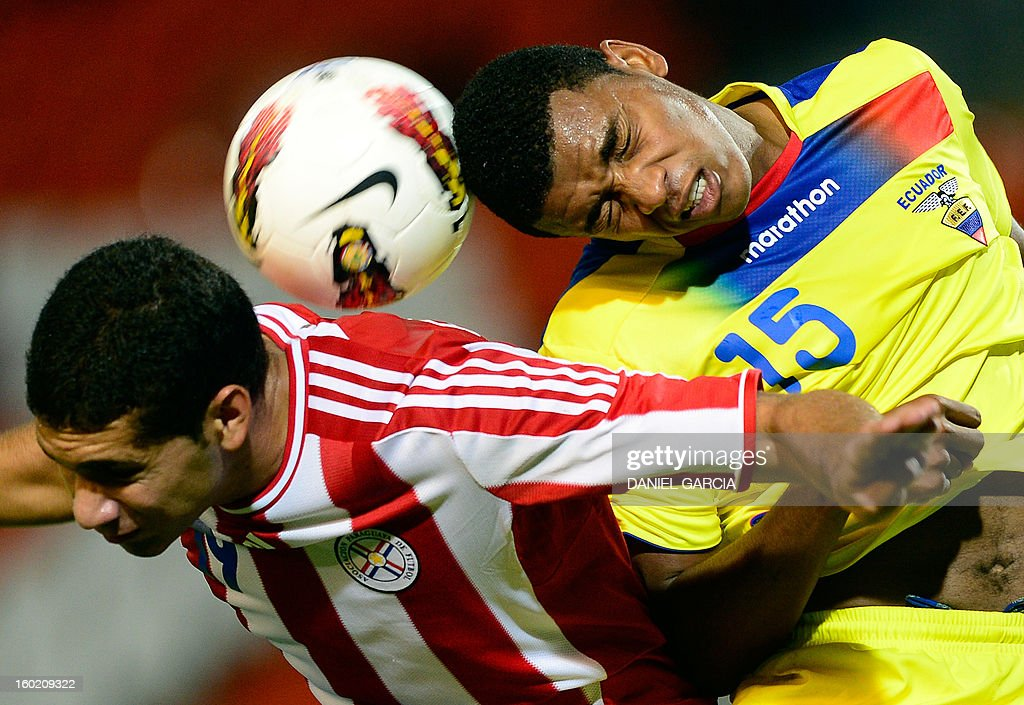 Paraguay's defender Matias Perez (L) vies for the ball with Ecuador's midfielder Michael Arboleda (R) during their South American U-20 final round football match at Malvinas Argentinas stadium in Mendoza, Argentina, on January 27, 2013. Four teams will qualify for the FIFA U-20 World Cup Turkey 2013.