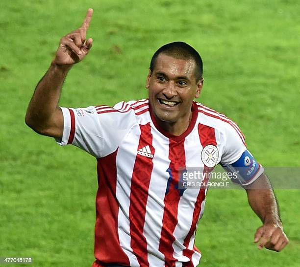 Paraguay's defender Paulo Da Silva celebrates at the end of their 2015 Copa America football championship match against Argentina in La Serena Chile...