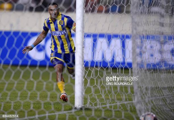 Paraguays Deportivo Capiata player Roberto Gamarra celebrates after scoring against Perus Universitario during their Copa Libertadores football match...